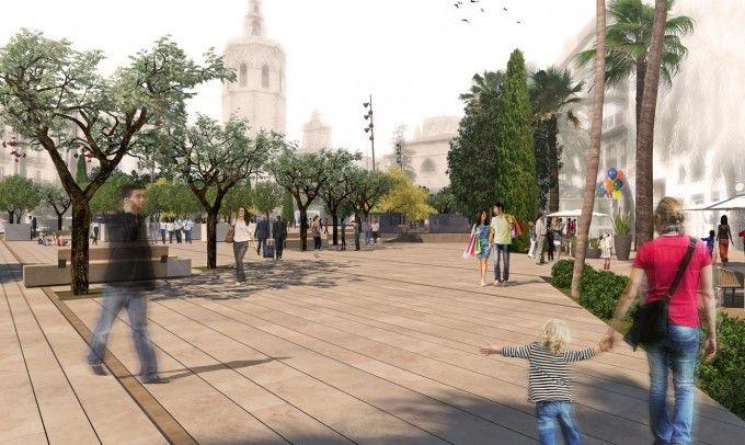 Plaza de la Reina peatonal