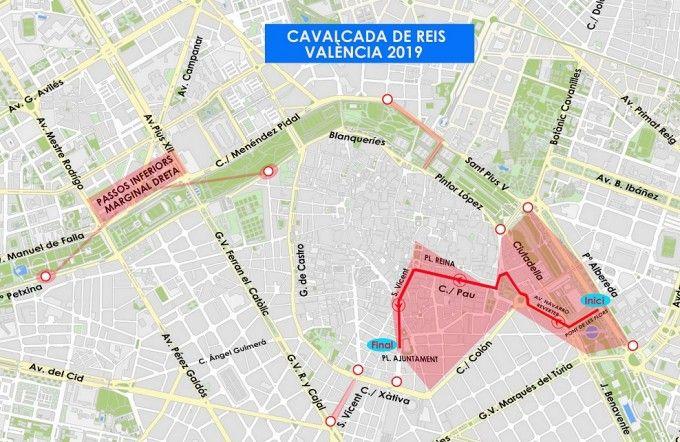Cortes de tráfico para la Cabalgata de Reyes de Valencia