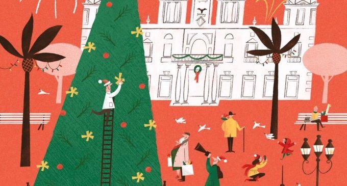 El Consistori felicita les festes amb un cartell que recrea la Plaça de l'Ajuntament