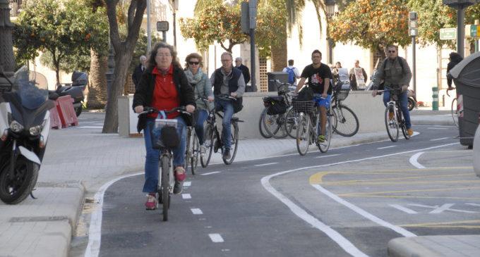 Es registren quasi 6.000 bicis diàries en la zona amb més presència ciclista de València, un 60% més que l'any anterior
