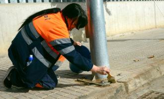 ESPAI prova un nou tractament repel·lent de l'orina de gossos a diferents punts de Paiporta
