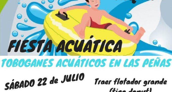 Festa aquàtica amb dos tobogans gegants en Les Penyes