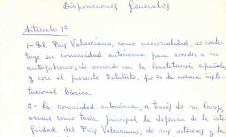 Les Corts difunden los documentos de trabajo originales del Estatuto