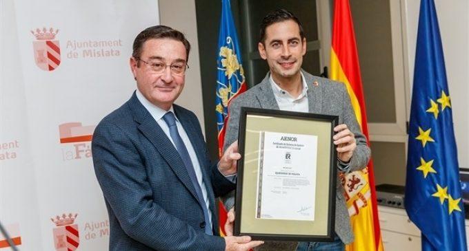 Mislata, primer municipi d'Espanya a aconseguir el certificat de qualitat d'AENOR d'accessibilitat