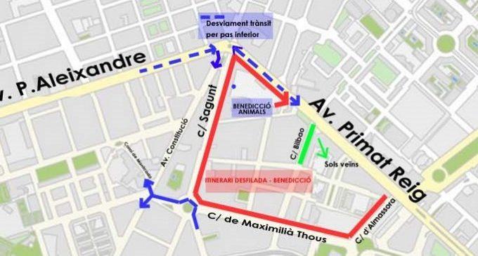 Posibles afecciones al tráfico por la celebración de San Antonio en Valencia