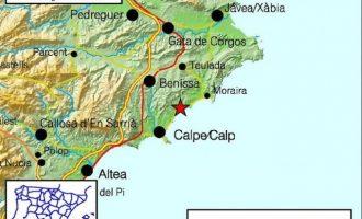 La Marina Alta registra tres terratrémols amb una magnitud d'entre 2 i 3,1