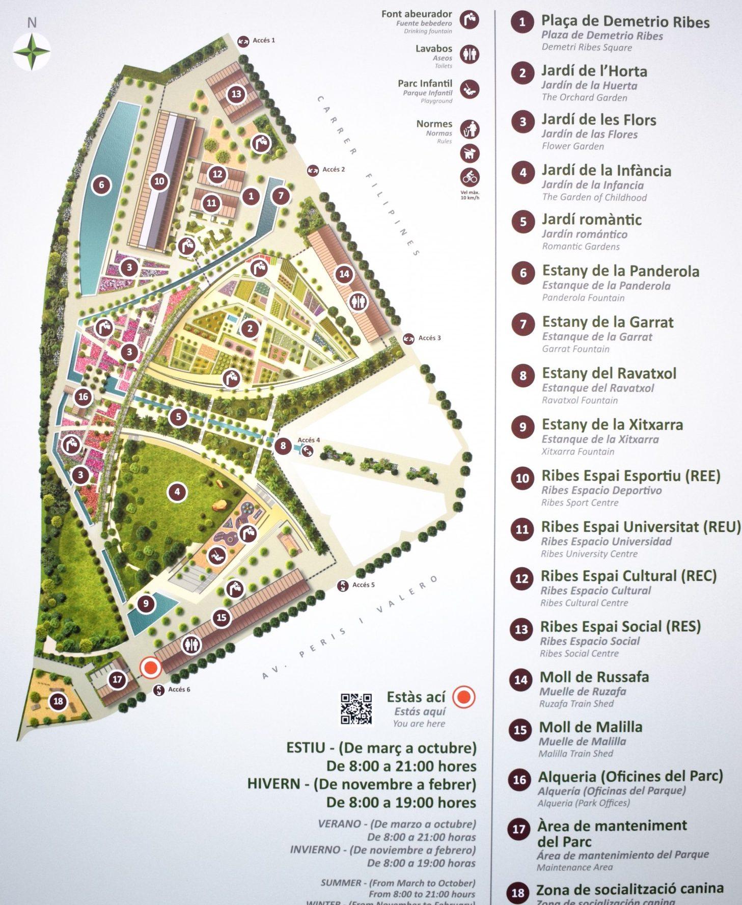mapa parque central valencia