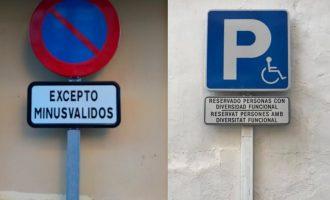 """Manises inclou el terme """"diversitat funcional"""" en els senyals d'aparcament reservat"""