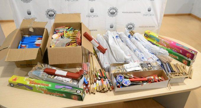 La Policia Local de Paiporta comissa 50 quilos de material pirotècnic furtat en mans d'un grup de quatre menors