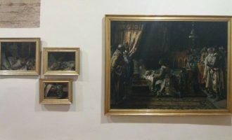 Cullera exhibe una obra cumbre de Pinazo propiedad de la Diputació: 'El Rey Jaime I entrega la espada a su hijo'