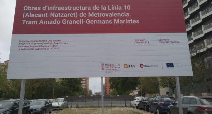 Es reprenen les obres de la Línia 10 de Metrovalencia