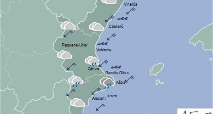 Las precipitaciones podrán ser persistentes y localmente fuertes en el norte de Alicante y sur de Valencia