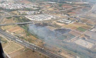 Declarat un incendi de vegetació en el barranc de Torrent