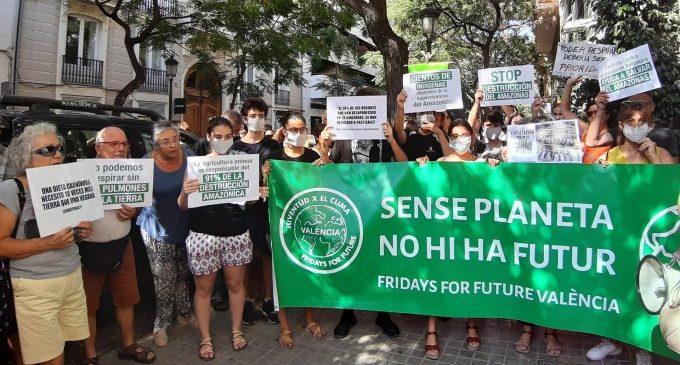 """Una protesta a València defensa la supervivència de l'Amazones: """"No podem respirar sense els pulmons de la Terra"""""""