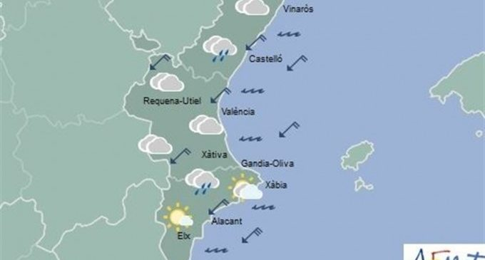 Les tempestes remeten en la Comunitat Valenciana, que aquest diumenge espera cels nuvolosos i ruixats dispersos