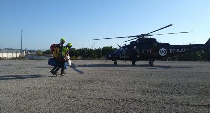 Rescatat en helicòpter un senderista de 44 anys ferit a Oliva