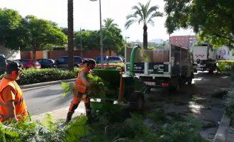 Dues màquines biotrituradores eliminen les restes de poda de Paterna