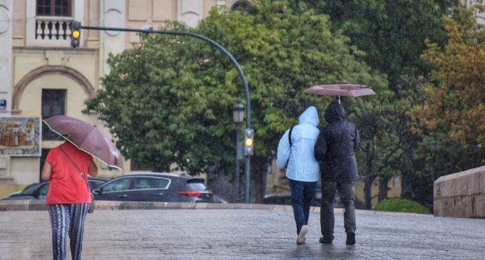 Las lluvias acumulan más de 60 l/m2 hasta las 11.30 horas en la Comunitat Valenciana