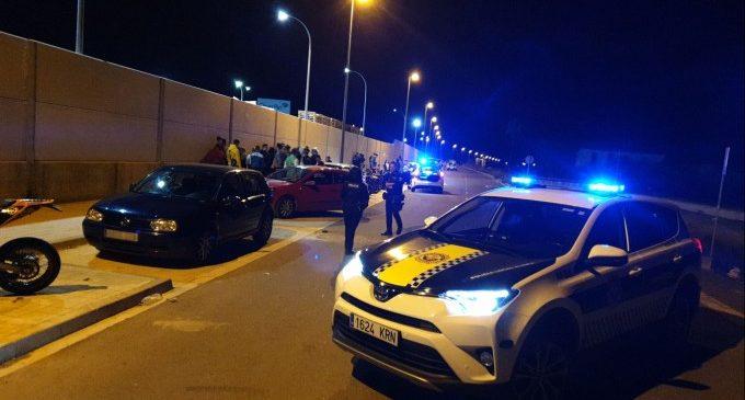 La Policia Local de Alzira pone fin a una carrera ilegal en el Pla