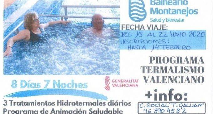 Els majors de Burjassot podran gaudir del programa de termalisme en el Balneari de Montanejos a un preu reduït
