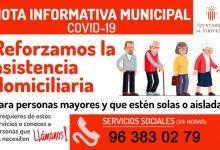 Xirivella reforça l'assistència domiciliària i l'atenció psicològica per telèfon