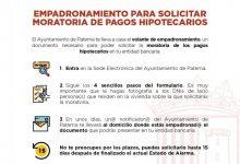 Paterna acerca a domicilio el certificado de empadronamiento necesario para solicitar la moratoria hipotecaria