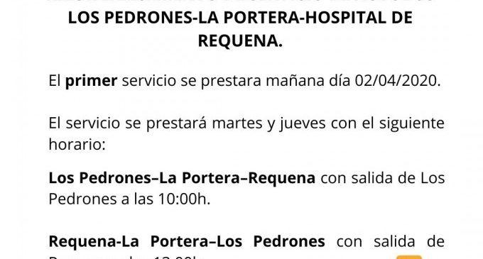 Requena connecta les aldees dels Pedrones i La Portera amb l'hospital durant la quarantena