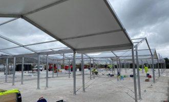 La estructura de los hospitales de campaña valencianos estará acabada entre el 8 y el 10 de abril