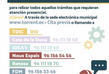 El Ayuntamiento de Torrent reanuda la atención presencial solicitando cita previa para aquellos trámites que no puedan llevarse a cabo de manera telemática