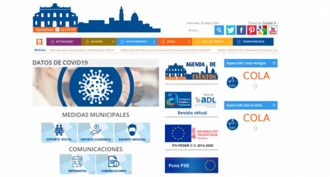 Alfafar habilita un apartat de transparència de la covid-19 en el seu web municipal