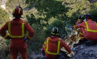 Rescatado un escalador que se había caído cuando practicaba deporte en Vallada