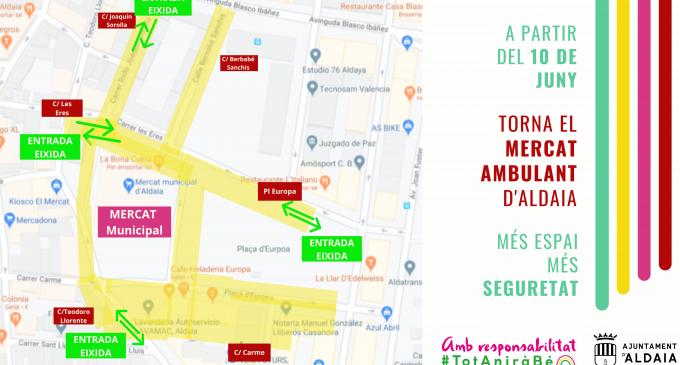 Vuelve el mercado ambulante de Aldaia, ampliado y con dispensadores higiénicos