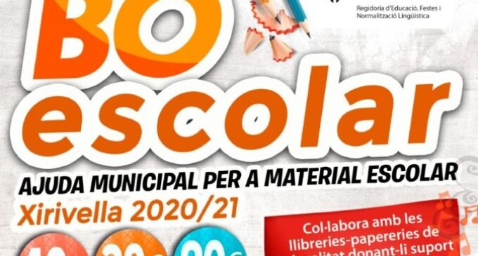Xirivella destina 116.000 euros a l'Abonament Escolar 2020-21