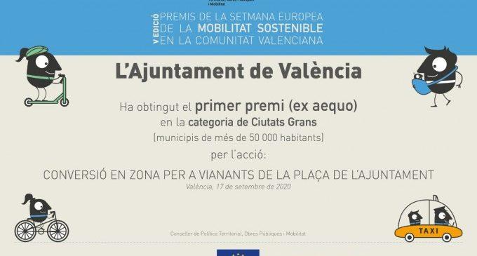La conversió en zona de vianants de la plaça de l'Ajuntament gana el premi de la Setmana Europea de la Mobilitat Sostenible en la Comunitat Valenciana