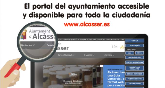 El portal web del Ayuntamiento de Alcàsser, accesible a toda la ciudadanía