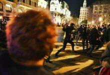 Càrregues policials en la concentració per la llibertat de Pablo Hasél a València