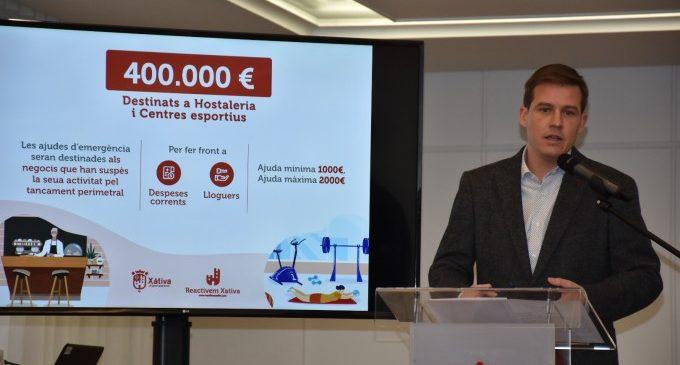 L'Ajuntament de Xàtiva ha aprovat ja vora un centenar d'ajudes per a la reactivació econòmica amb una inversió de 180.000 euros