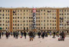 Veïns del Cabanyal pengen una pancarta contra el Pla Especial i l'hotel de 15 plantes