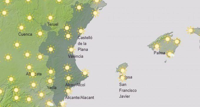 Temperaturas en ascenso este sábado en la Comunitat Valenciana, con máximas de hasta 30º