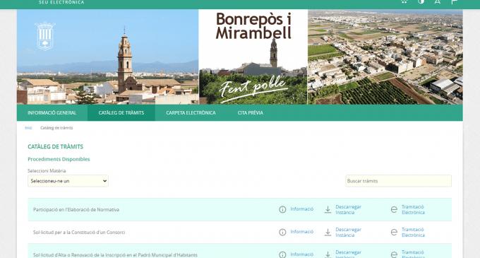 Bonrepòs i Mirambell estrena nova Seu Electrònica